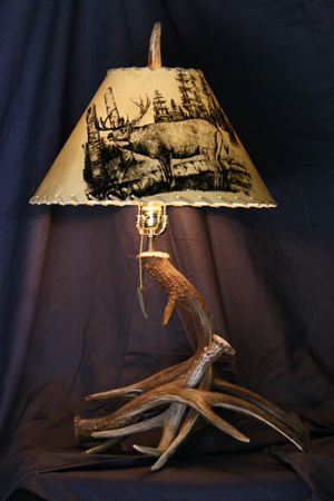 Model #DTL2 Deer Horn Table Antler Lamp